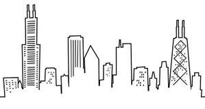 Karikatur-Chicago-Skyline Lizenzfreie Stockfotos