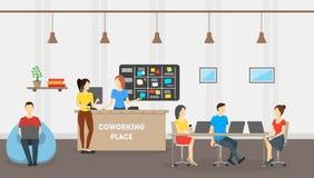Karikatur Coworking-Platz-Karten-Plakat Vektor Lizenzfreie Stockfotos