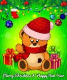 Karikatur cristmas Teddybär mit Geschenkboxen auf grünem Hintergrund stock abbildung