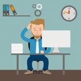 Karikatur-denkender Geschäftsmann Gears Office Stockfoto