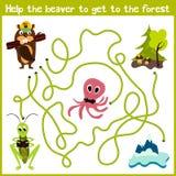 Karikatur der Bildung setzt den logischen Heimweg von bunten Tieren fort Helfen Sie dem Biber, nach Hause im wilden Wald Matc zu  Stockbilder
