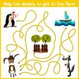 Karikatur der Bildung setzt den logischen Heimweg von bunten Tieren fort Helfen Sie dem Esel, nach Hause im Hof zu kommen Matchin Lizenzfreies Stockbild