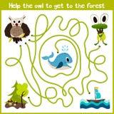Karikatur der Bildung setzt den logischen Heimweg von bunten Tieren fort Helfen Sie der Eule, in den wilden Wald und in den nicht Stockfoto
