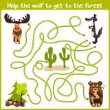 Karikatur der Bildung setzt den logischen Heimweg von bunten Tieren fort Holen Sie das Haus des grauen Wolfs zum feenhaften Wald  lizenzfreies stockbild