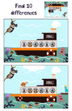 Karikatur der Bildung, zum von 10 Unterschieden bezüglich der Bilder der Kinder des Bootes mit den Tieren des wilden Dschungels u Lizenzfreie Stockfotos