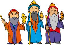 Karikatur der drei weisen Männer lizenzfreie abbildung