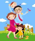 Karikatur der glücklichen Familie draußen gehend mit Hund. Stockbilder