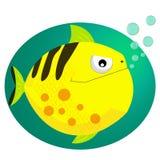 Karikatur der grünen Piranha lächelte glücklich mit Wasserblasen Vektor Lizenzfreie Stockbilder