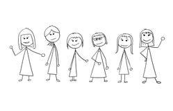 Karikatur der Menge von sechs Geschäftsfrau-Geschäftsfrau-Leute-Isolator Lizenzfreie Stockfotografie