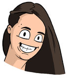 Karikatur des freckly Mädchens mit dem dunkelbraunen Haar, den großen Augen und großem Lächeln Stock Abbildung