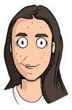 Karikatur des freckly Mädchens mit dem dunkelbraunen Haar, den runden Augen und schmalem Lächeln Stock Abbildung