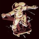 Karikatur des Freistilschlittschuhläufers springend auf Skateboard, dunkler Hintergrund vektor abbildung