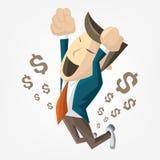 Karikatur des Geschäftsmannes springen über Erfolg Glücklich, Geld viel erhalten Flache Illustration des Vektors Lizenzfreies Stockbild
