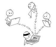 Karikatur des Hackers die Daten stehlend, die Computer, Tablet und Smart-Telefon zerhacken vektor abbildung