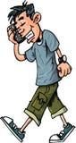 Karikatur des jugendlich Jungen sprechend auf seiner Stockbilder