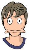 Karikatur des jungen Mannes mit dem schmutzigen blonden Haar Lizenzfreie Stockfotos
