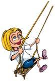 Karikatur des jungen Mädchens auf einem Schwingen Stockfotografie
