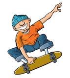 Karikatur des Jungen springend auf sein Skateboard. Lizenzfreies Stockfoto