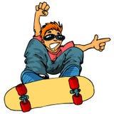 Karikatur des Kindes auf einem Skateboard Stockfotos