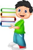 Karikatur des kleinen Jungen, die ein Bündel des Buches trägt Lizenzfreie Stockbilder