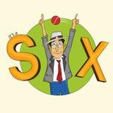 Karikatur des Kricketschiedsrichters sixer zeigend Lizenzfreie Stockfotografie