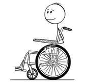 Karikatur des lächelnden arbeitsunfähigen Mannes, der auf Rollstuhl sitzt vektor abbildung