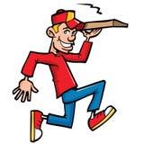 Karikatur des laufenden Anlieferungsjungen der Pizza Stockfotografie