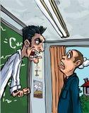 Karikatur des Lehrers schreiend an einer Pupille Stockfoto