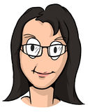 Karikatur des Mädchens mit dem schwarzen Haar und den Gläsern Lizenzfreie Stockbilder