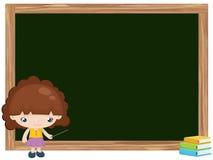 Karikatur des Mädchenunterrichts auf Tafel Stockfoto