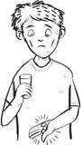 Karikatur des Mannes erschrak von einer Pille und von einer Kapsel Linie Kunstzeichnung Stockfotografie