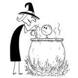 Karikatur des Mannes gekocht von der schlechten Hexe im Großen Kessel stock abbildung