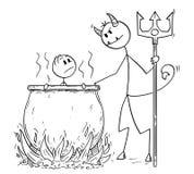 Karikatur des Mannes oder des Geschäftsmannes, die für seine Sünden vom Teufel im Großen Kessel in der Hölle gekocht wird stock abbildung
