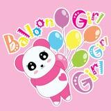 Karikatur des Pandas und der Ballone Stockfotografie