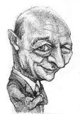 Karikatur des Präsident Basescu Stockfotografie