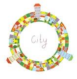 Karikatur des Stadtkreisrahmens mit lustigen Häusern Stockfotos
