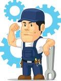 Karikatur des starken Mechanikers mit Schlüssel Lizenzfreies Stockfoto
