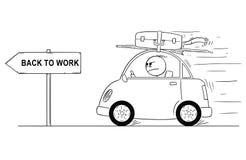 Karikatur des unglücklichen oder verärgerten Mannes, der zurück geht oder in kleines Auto vom Feiertag oder von den Ferien zurück Stockbild