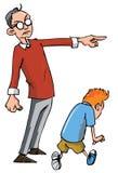 Karikatur des Vatis seinen Sohn scheltend Stockfoto