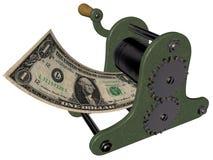 Karikatur des Verdienens des Geldes auf der Handdruckenpresse Stockbilder