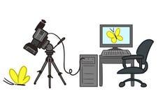 Karikatur des Video-Wiedergabeprozesses Stockbild
