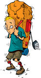 Karikatur des Wanderers mit schwerem Rucksack Stockbild