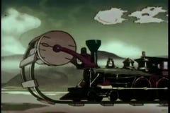 Karikatur des Zugs seine eigenen Bahnen legend stock video