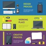 Karikatur-Designer-Workplace Banner Horizontal-Satz Vektor Stockfotos