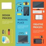 Karikatur-Designer-Workplace Banner Vecrtical-Satz Vektor Stockbild