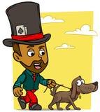 Karikatur, die brunette Jungencharakter mit Hund geht vektor abbildung
