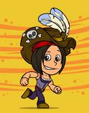 Karikatur, die brunette Piratenmädchencharakter laufen lässt stock abbildung