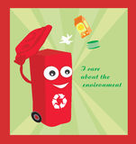 Karikatur, die einen lustigen Wiederverwertungsbehälter darstellt Stockbild
