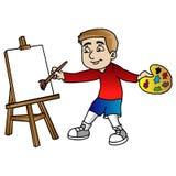 Karikatur, die Malerei macht stock abbildung