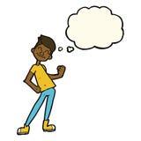 Karikatur, die Mann mit Gedankenblase feiert Lizenzfreies Stockfoto